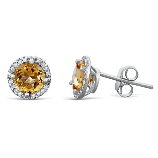 Sterling Silver Earrings with Citrine and Diamond