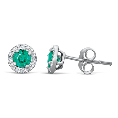Sterling Silver Stud Earrings with Emerald and Diamond