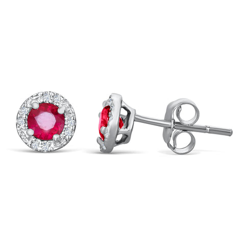 Sterling Silver Earrings with Ruby and Diamond