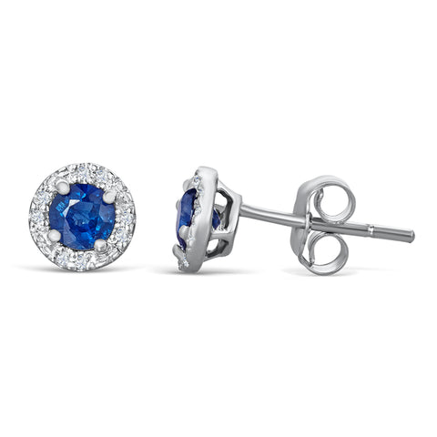 Sterling Silver Stud Earrings with Sapphire and Diamond