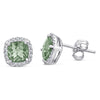 Sterling Silver Earrings with Green Amethyst and Diamond