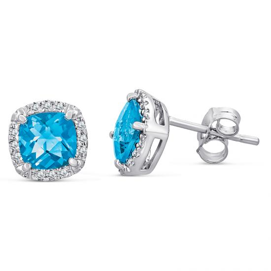 Sterling Silver Earrings with Blue Topaz and Diamond