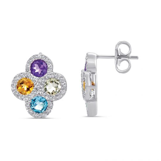 Sterling Silver Earrings with Multi Color Stones and Diamonds