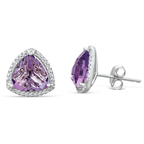 Sterling Silver Earrings with Amethyst and Diamond