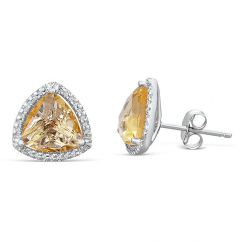 Sterling Silver Earrings with Citrine and Diamonds
