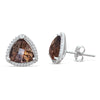 Sterling Silver Earrings with Smoky Quartz and Diamond
