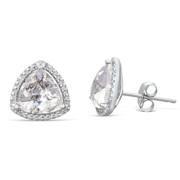 Sterling Silver Earrings with White Topaz and Diamond