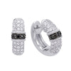Sterling Silver Hoop Earrings with Black Diamonds and White Topaz