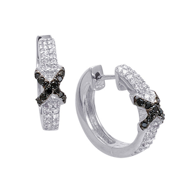Sterling Silver Hoop Earrings with Black Diamond and White Topaz