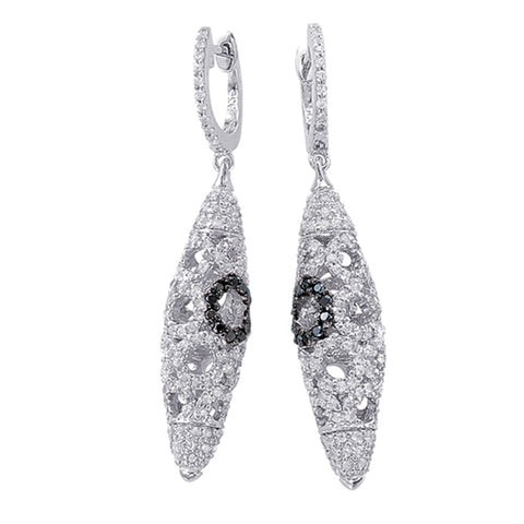 Sterling Silver Earrings with Black Diamonds and White Topaz