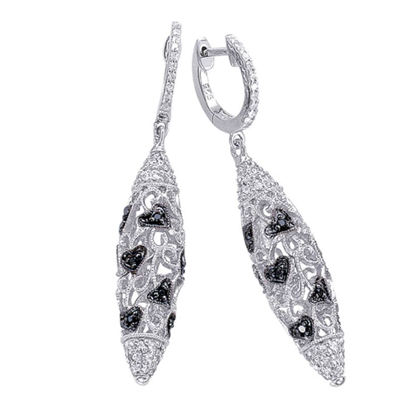 Sterling Silver Dangling Earrings with Black Diamonds and White Topaz
