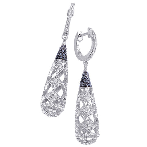Sterling Silver Dangling Earrings with Black Diamond and White Topaz