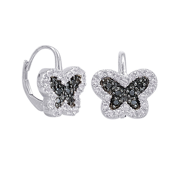Sterling Silver Butterfly Earrings with White Topaz and Black Diamonds