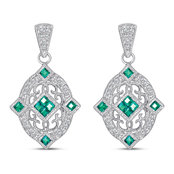 Sterling Silver Hanging Earrings with Emerald and Diamond