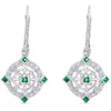 Sterling Silver Vintage Style Earrings with Emerald and Diamond