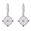 Sterling Silver Vintage Style Earrings with Ruby and Diamond