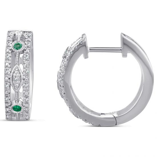 Sterling Silver Huggie Earring with Emerald and Diamond
