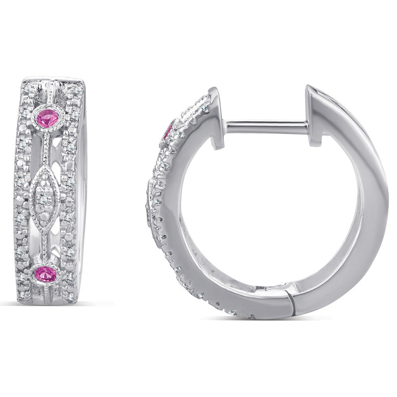Sterling Silver Huggie Earrings with Ruby and Diamond