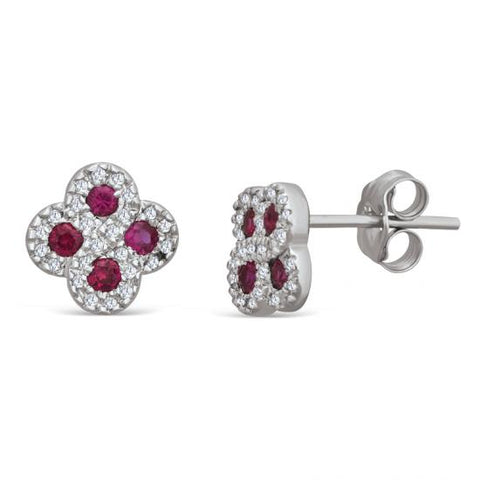 Sterling Silver Stud Earrings with Ruby and Diamond