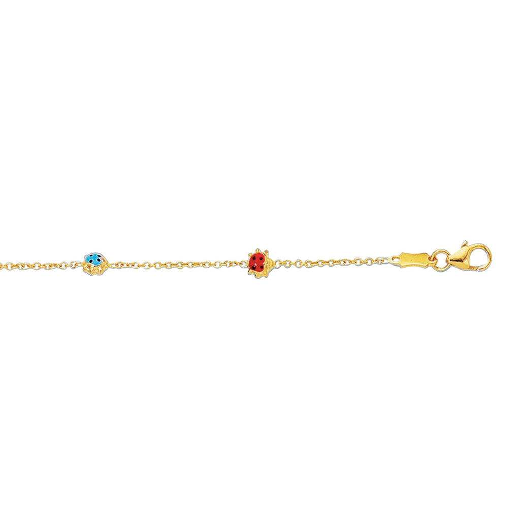 14kt 5-5.5 inches Yellow Gold Shiny Cable Link Chain+3 Station Lady Bug Adjustable Bracelet with Pear Shape Clasp