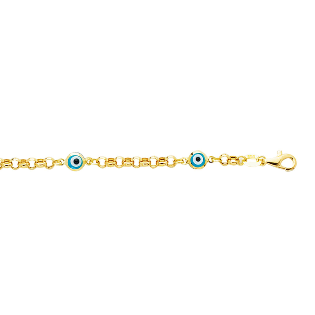 14kt 5.5 inches Yellow Gold Shiny Rolo Link Chain+Station Evil Eye Bracelet with Pear Shape Clasp