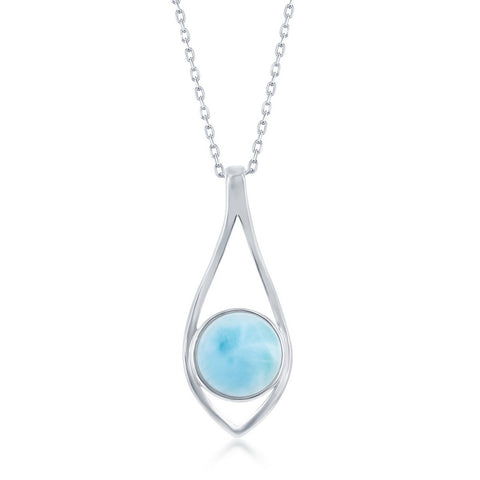 Sterling Silver Round Larimar Open Marquise Pendant