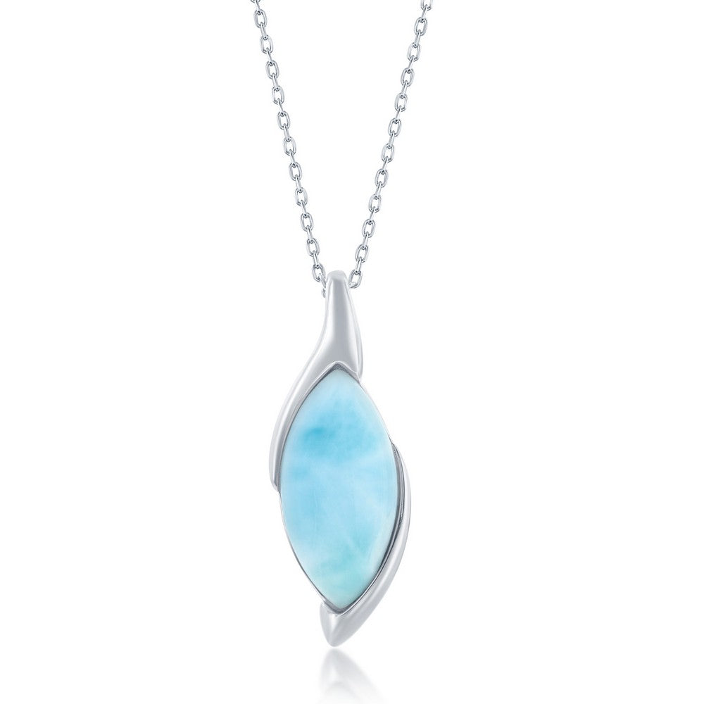 Sterling Silver Marquise Larimar Pendant