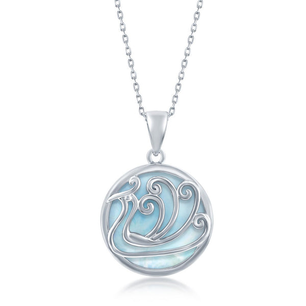Sterling Silver Round Larimar Waves Pendant