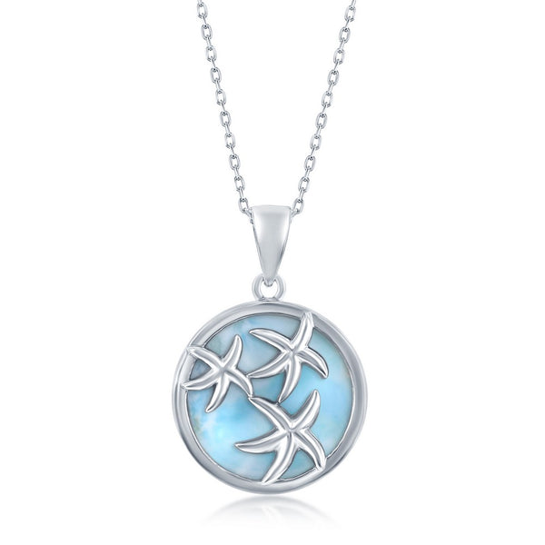Sterling Silver Round Larimar Starfish Pendant