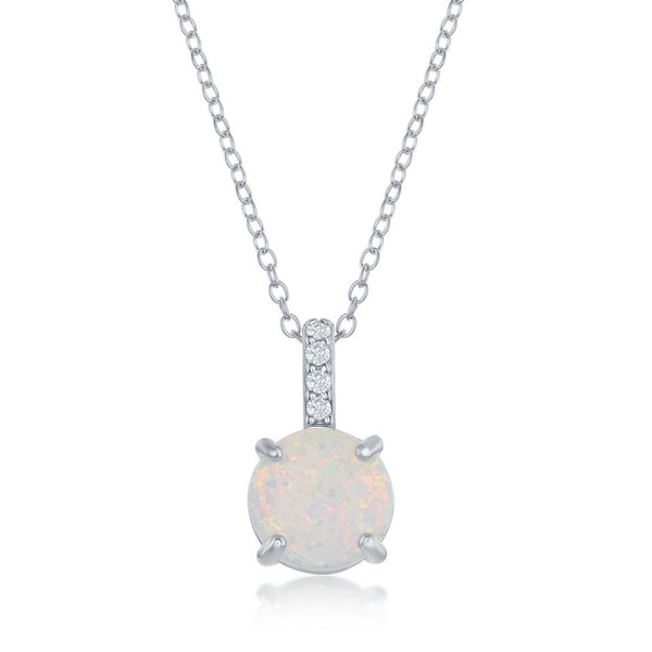 Sterling Silver Prong Round White Opal With CZ Pendant