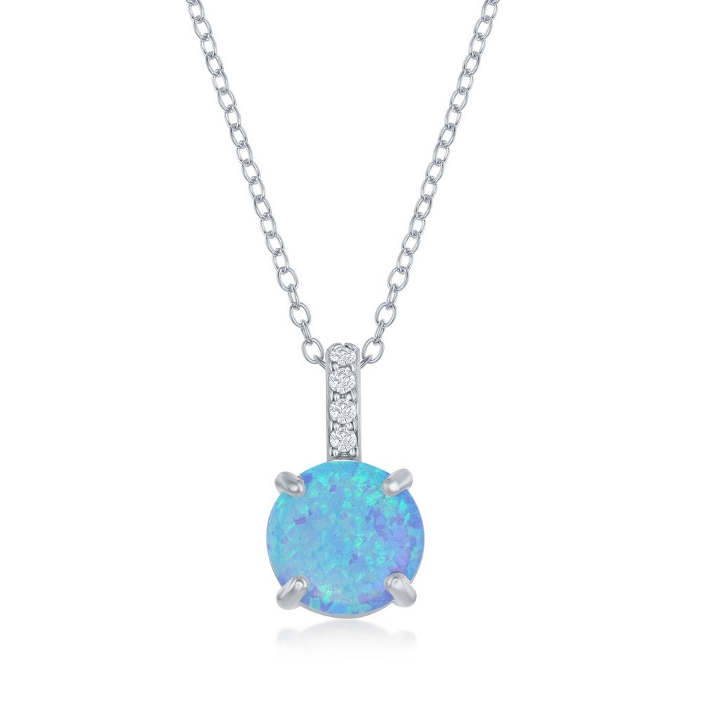 Sterling Silver Prong Round Blue Opal With CZ Pendant