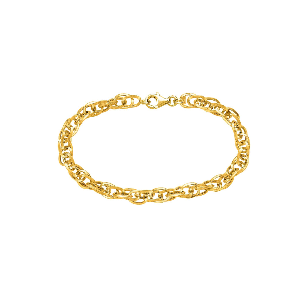 14kt 7.50 inches Yellow+White Gold Shiny Euro Link Bracelet with Spring Ring Clasp