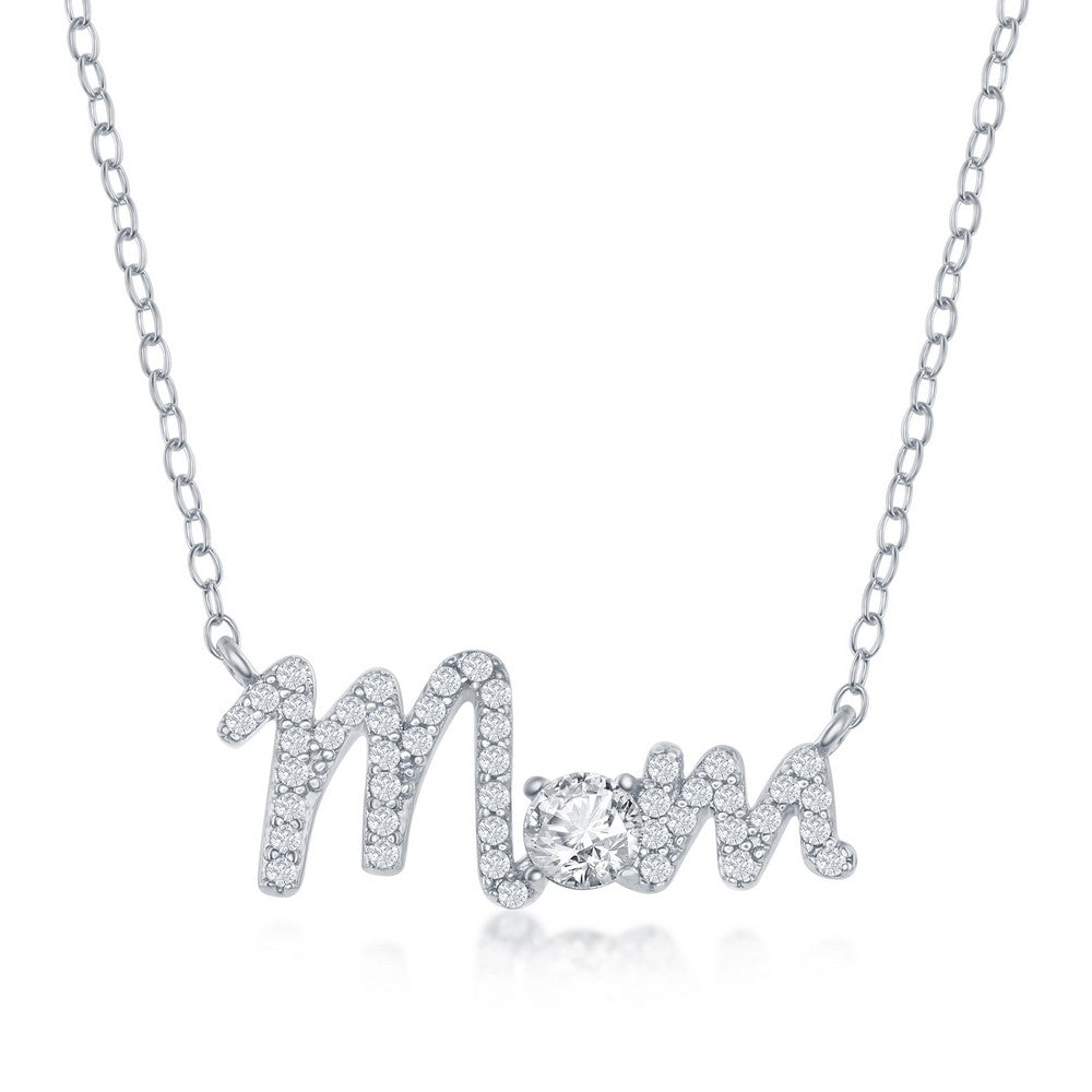 Sterling Silver CZ 'Mom' Necklace