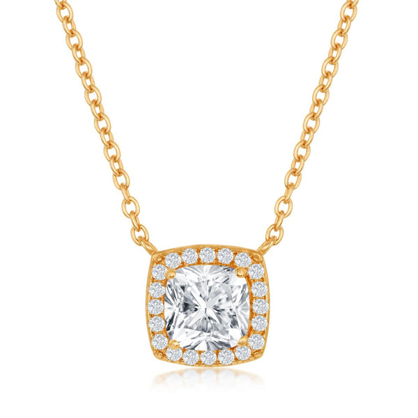Sterling Silver Princess-Cut with CZ Border Necklace - Gold Plated