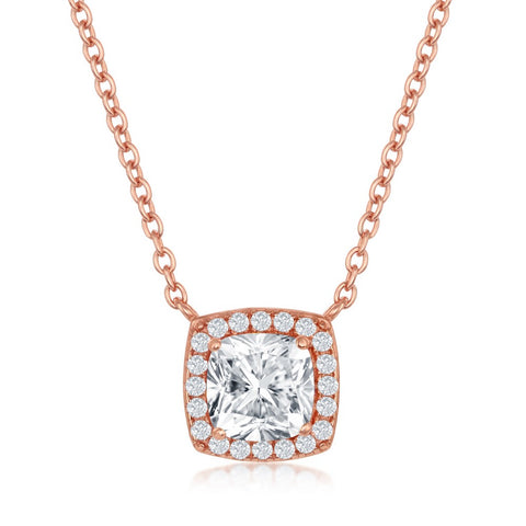 Sterling Silver Princess-Cut with CZ Border Necklace - Rose Gold Plated