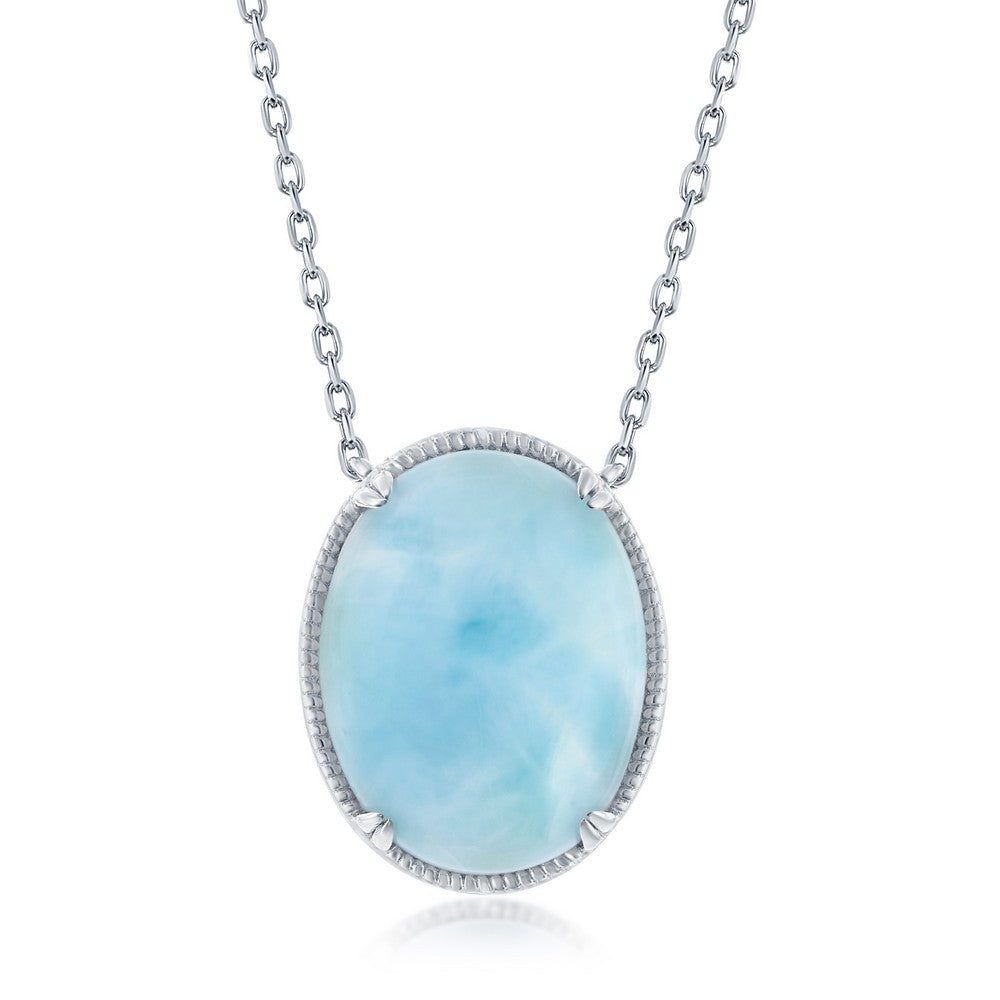 Sterling Silver Oval Larimar Filigree Design Necklace