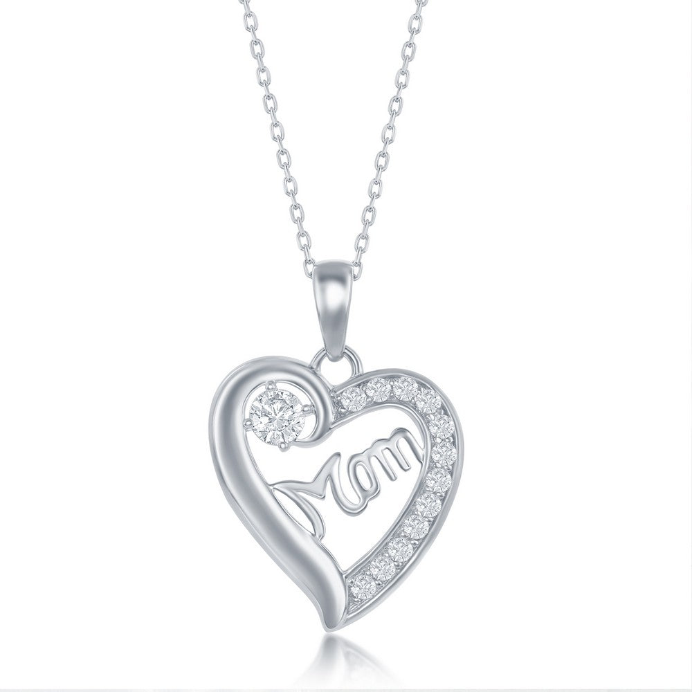 Sterling Silver 'Mom' CZ Heart Necklace