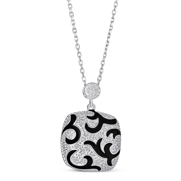 Stelring Silver Pendant with Black Enamel and Diamond