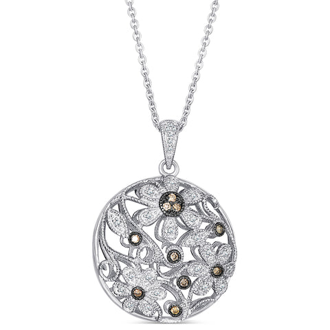 Sterling Silver Pendant with Brown and White Diamonds