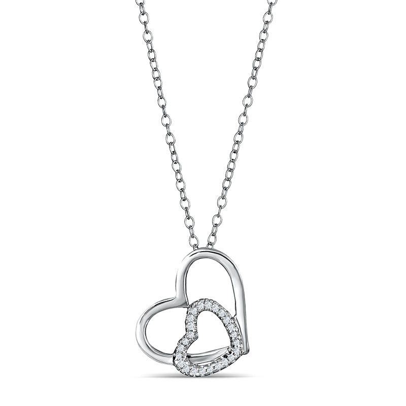 Sterling Silver Double Heart Pendant with Diamonds