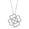 Sterling Silver Four Leaf Clover Pendant with Diamonds