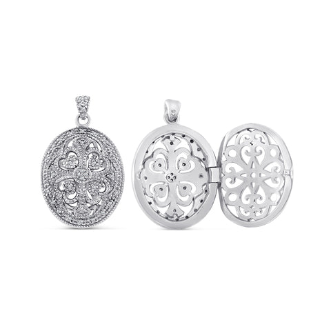Sterling Silver Locket Pendant with Diamonds