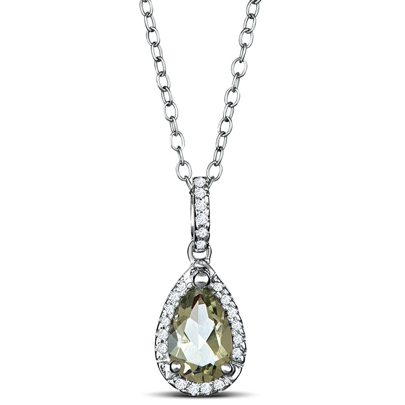 Sterling Silver Necklace with Green Amethyst and Diamond