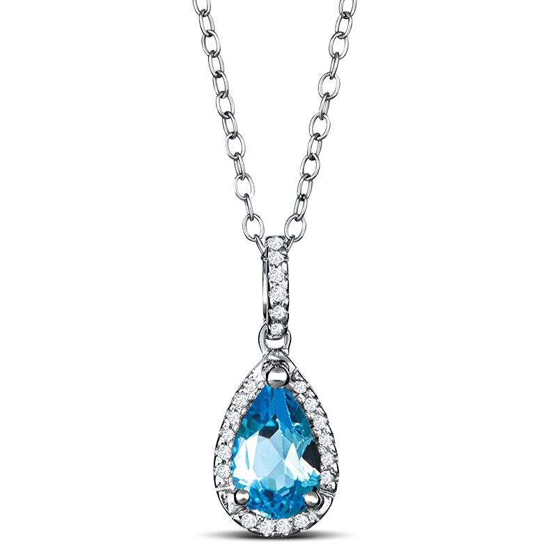 Sterling Silver Necklace with Blue Topaz and Diamond