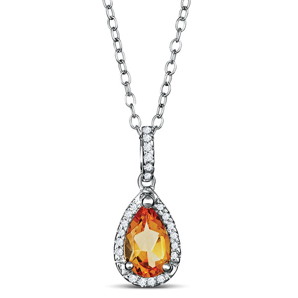 Sterling Silver Necklace with Citrine and Diamond