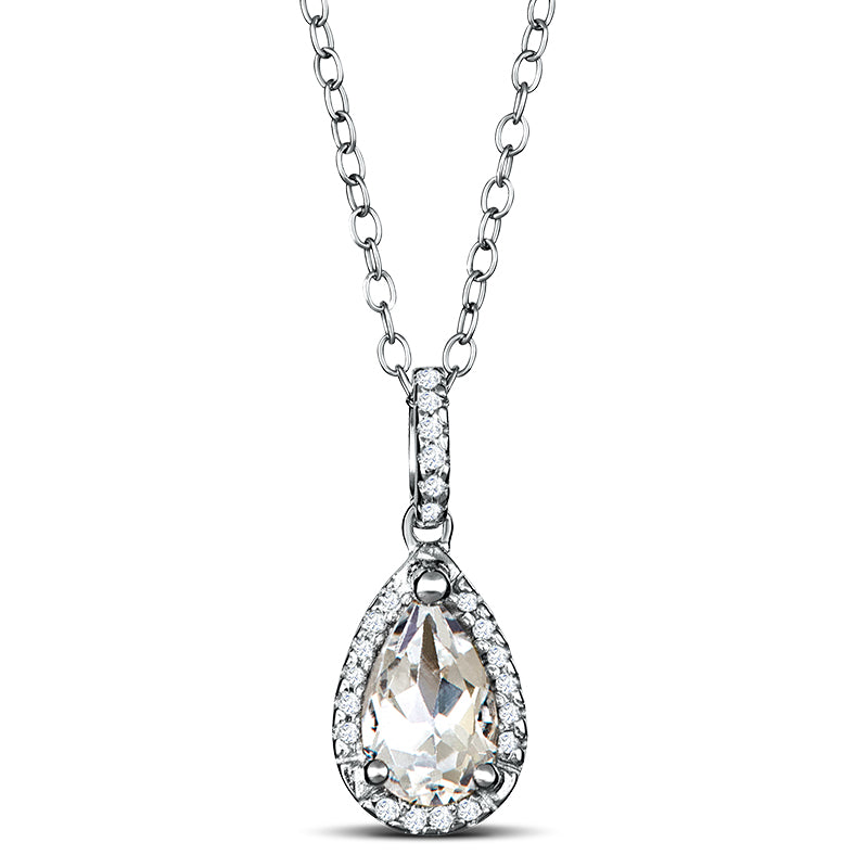 Sterling Silver Neklace with White Topaz and Diamond
