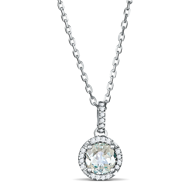 Sterling Silver Pendant with White Topaz and Diamonds