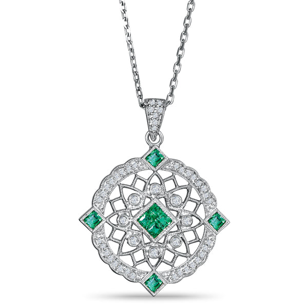 Sterling Silver Vintage Style Pendant with Emerald and Diamond
