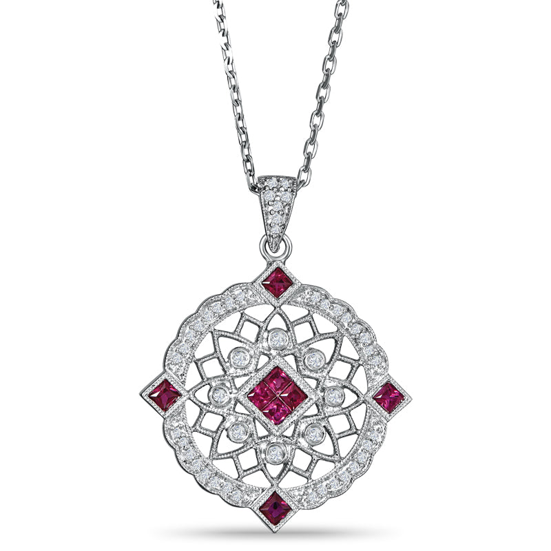 Sterling Silver Pendant with Ruby and Diamond