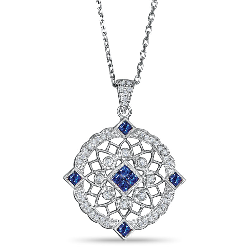 Sterling Silver Vintage Style Pendant with Sapphires and Diamond